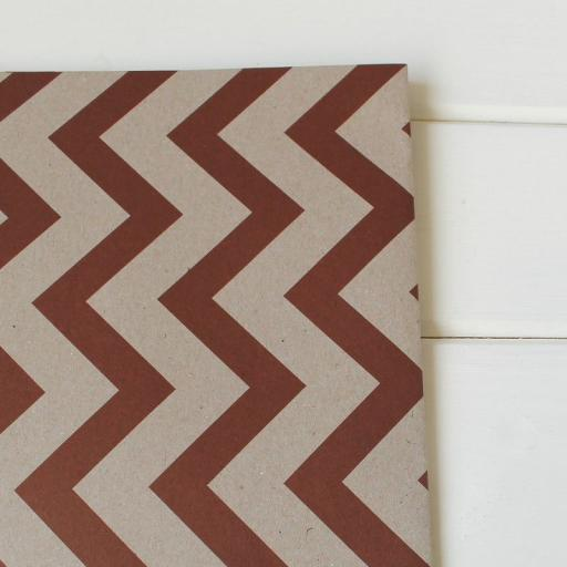 Kraft & Vintage RED Chevron Design Wrapping Paper