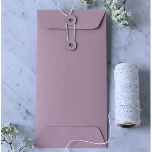 DL Blush pink String button Envelopes x 25