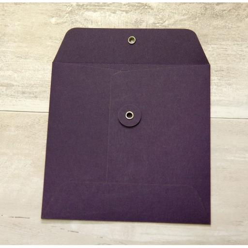 155mm Square PLUM String Tie Envelopes x 10