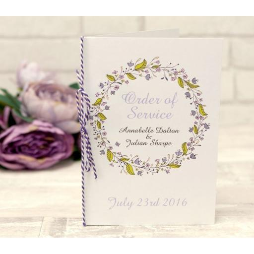 Floral Wreath Wedding - PLUM - order of service booklets x 50