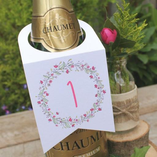 Floral Wreath PINK Wine Bottle Table Numbers (A5) numbers 1 -10