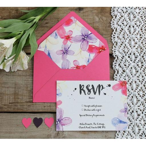 Watercolour pastel RSVP Cards and Envelopes x 25 (colour set 2)