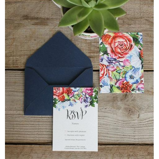 Botanical Blooms RSVP Cards and Envelopes x 25 (colour set 2)