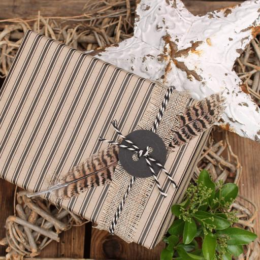 Ticking Stripe Vintage BLACK Wrapping Paper
