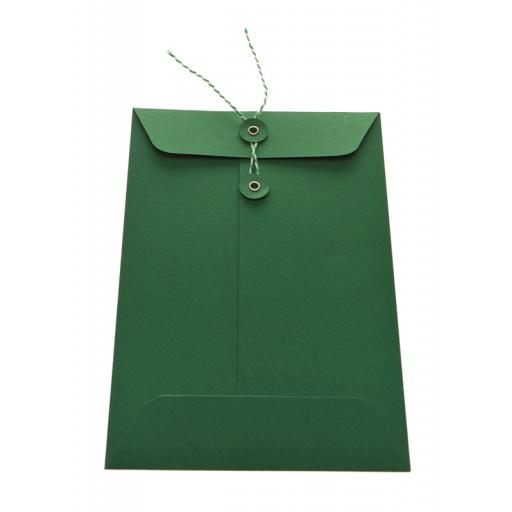 C6 FOREST GREEN String Tie Envelopes x 25