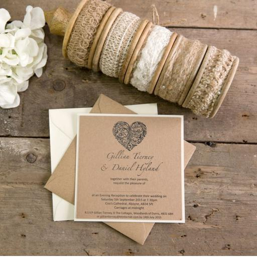 Vintage Heart Collection - Square wedding Invitation x 25