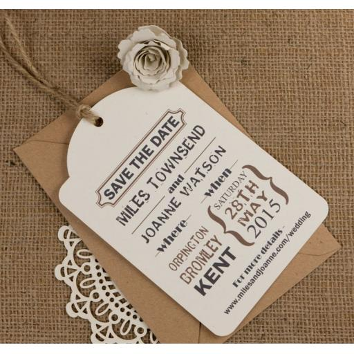 Extra Large PERSONALISED Vintage Cream luggage tags x 50 and envelopes