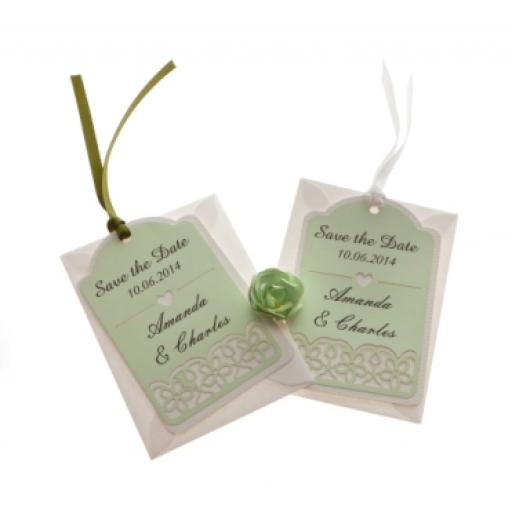 Pale mint on white card save the date luggage tags FLORAL CUT x 25