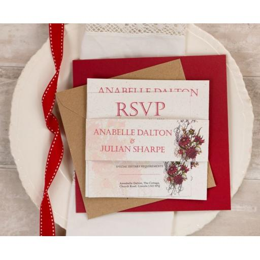 Botanical RED Flower Wedding Invitation - full set x 25