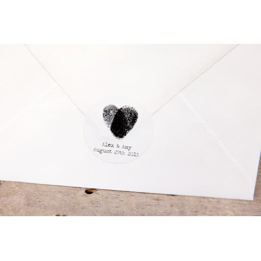 Fingerprint Heart Stickers x 50