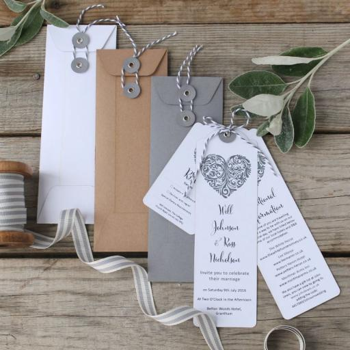 Vintage Heart Bookmark Invitations and envelopes (set of 25)