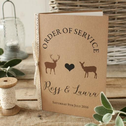 Modern stag Order of Service Booklets x 50
