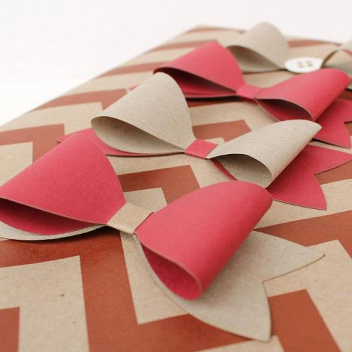RED & Kraft Paper Bows x 10