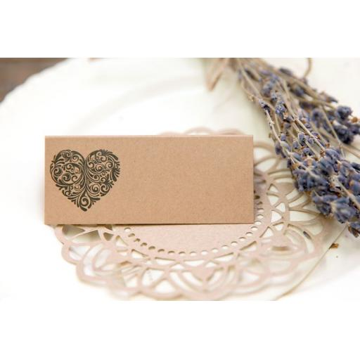 Vintage Heart Collection Wedding Place Cards pack of 50