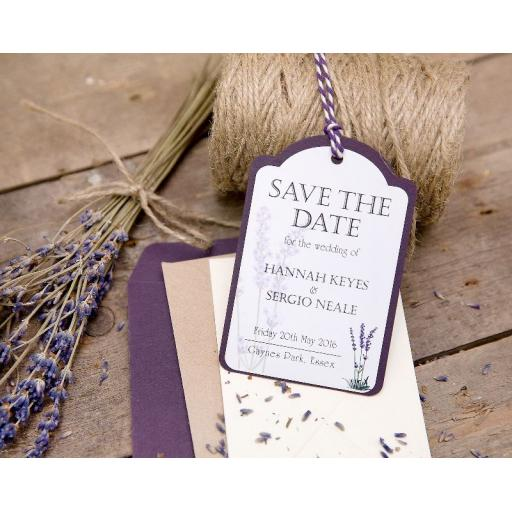 Lavender Save the Date Luggage Tags and Envelopes x 25