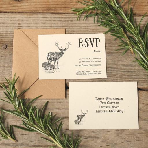 Vintage stag RSVP cards and Envelopes x 25
