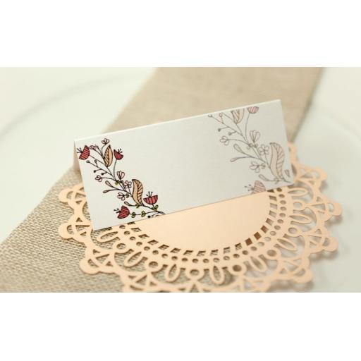 Floral Wreath Wedding - PEACH place cards x 50