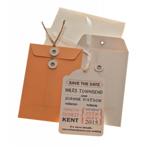 Peach Save the Date tags + Envelopes x 25 ( Vintage Range)