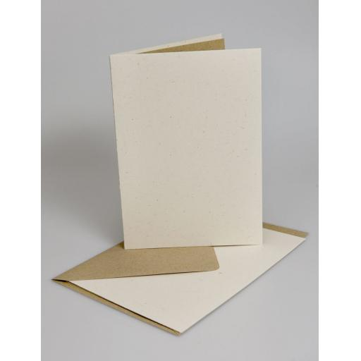 Vintage Cream Fleck A6 Folded Cards with Brown Envelopes & insert sheets ( pack of 50)