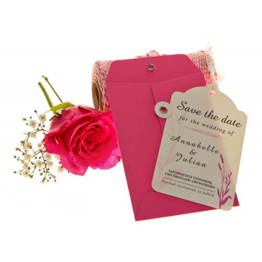 Cerise pink and White Save the Date Luggage tags and Envelopes x 25 ( WHEATGRASS RANGE)