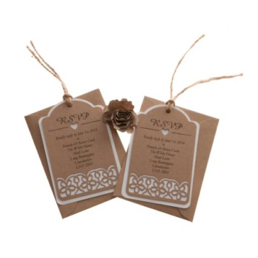 Floral laser cut RSVP luggage tags x 25