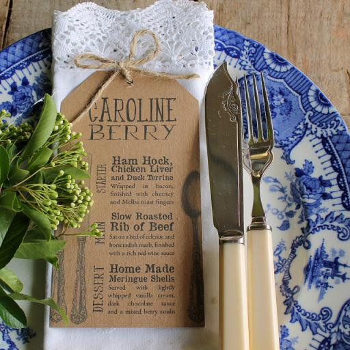 Personalised Cutlery MENU tags
