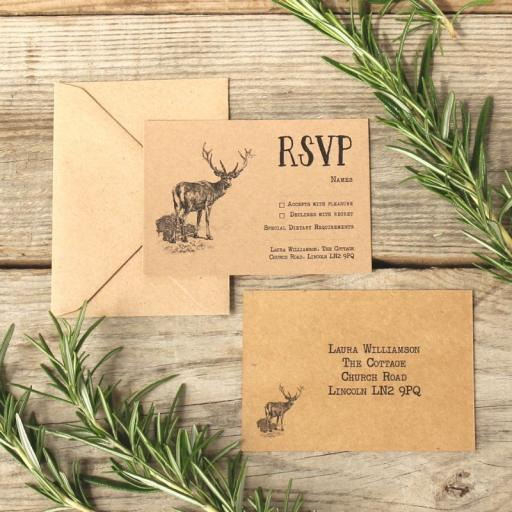 Vintage stag RSVP cards and Envelopes x 25