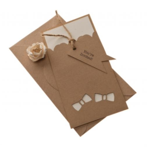 BOW TIE Brown Kraft DL invitation Sleeves