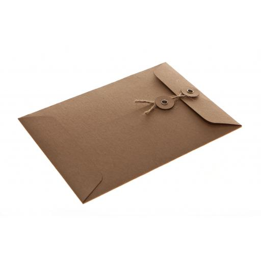 C6 BROWN KRAFT String Tie Envelopes x 25