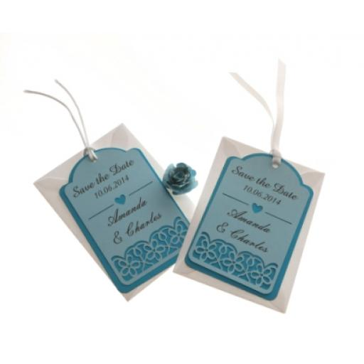 Pale Blue & Dark Blue save the date luggage tags FLORAL CUT x 25