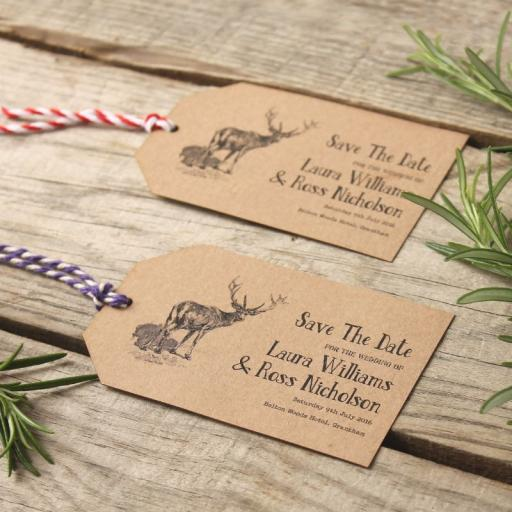 Vintage Stag Save The Date luggage tags and Envelopes x 25