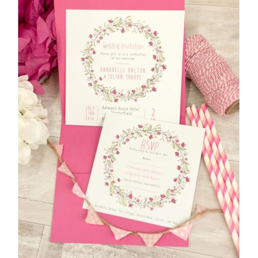 Floral Wreath PINK invitations and pocketfold set - full set x 50