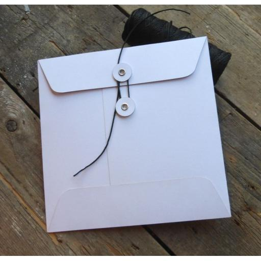 155mm Square WHITE String Tie Envelopes x 25