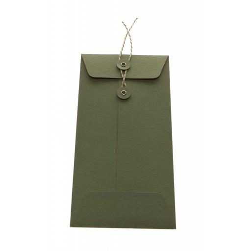 DL SAGE GREEN String Tie Envelopes x 25