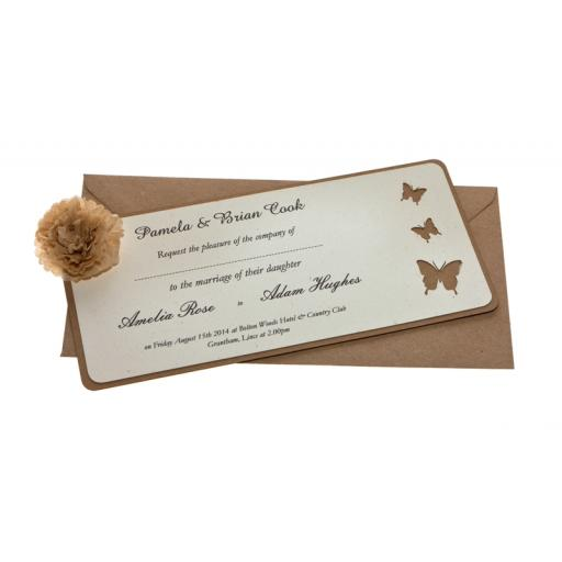 Butterfly Brown kraft card Wedding Invitations - DL Size (Set of 50)