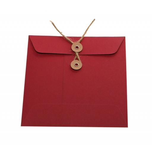 155mm Square RED String Tie Envelopes x 25
