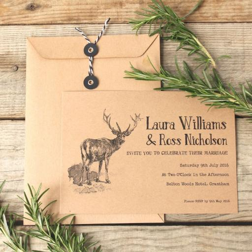 Vintage Stag Invitations and string tie envelopes x 25