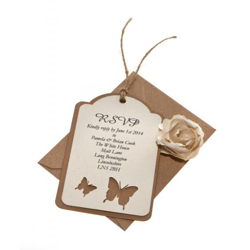 Butterfly -Vintage Cream & Brown Kraft Card RSVP luggage tags (Set of 25)