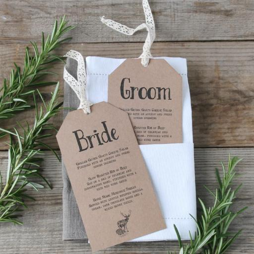 Vintage Stag Menu Tags