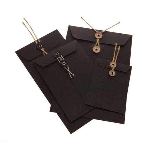 DL BLACK String Tie Envelopes x 25