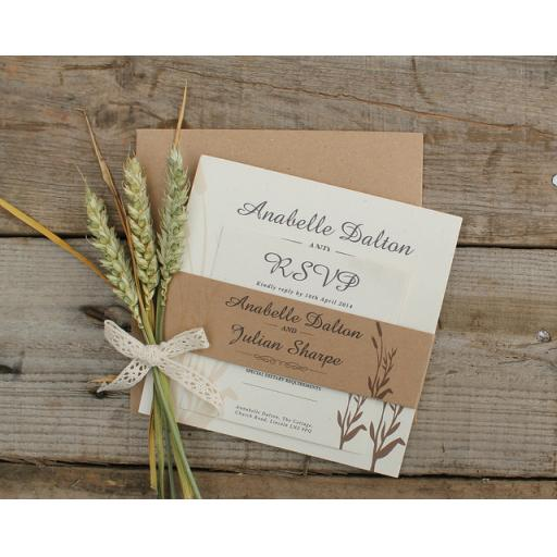 Wheatgrass Wedding Invitation - full set x 25
