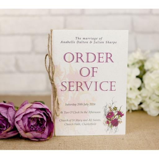 Botanical Plum flower order of service booklets x 50