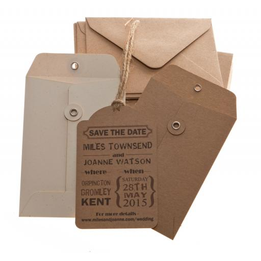 Brown Kraft Save the Date tags and Envelopes x 25 ( VINTAGE RANGE)
