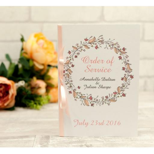 Floral Wreath Wedding - Peach - order of service booklets x 50
