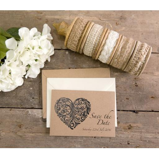 Vintage Heart Collection - Save the date cards x 25
