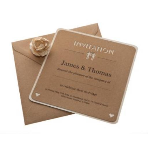 Belle Homme - Brown kraft & Cream Square card Wedding Invitations
