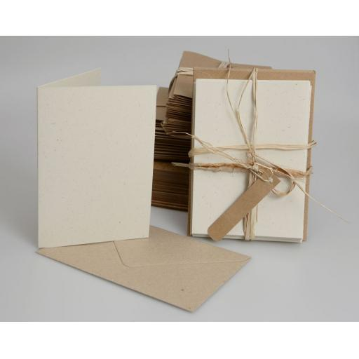 Vintage Cream Fleck Folded Cards with Brown Envelopes (A6) pack of 25