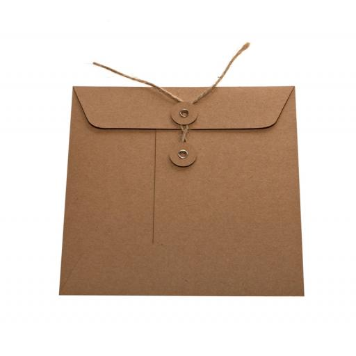 CD BROWN KRAFT String Tie Envelopes x 25
