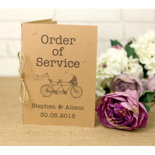 Vintage Bicycle - Order of service booklets x 50