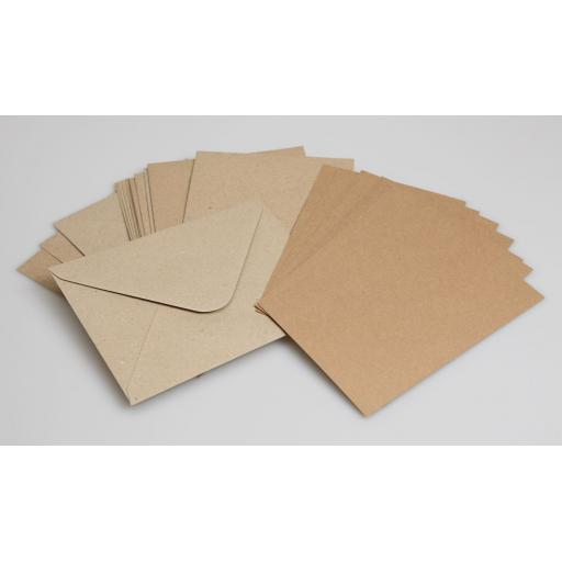 A6 Kraft postcards pack of 50 (300gm) with matching envelopes